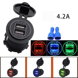 5V 4.2A Cargador de coche universal Puerto USB dual a prueba de agua 12-24V Enchufe para autobús Barco Motocicleta