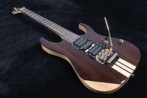 Rare 6 Saiten Massiv Palisander Korpus Gitarre Ein Stück Korpus Hals Thru Body Electric Guitars Floyd Rose Tremolo Brücke Lock-Strings Nut New