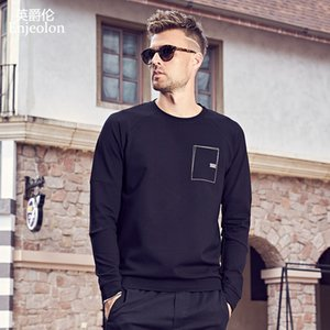 Enjeolon  Long Sleeve o neck Sweatshirt Men pocket sweatshirt men casual 3XL Pullover Clothing WY545