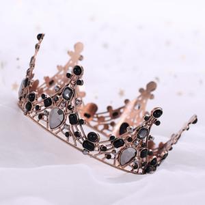 FORSEVEN Vintage schwarze Perlen Tiara Gothic Kronen Haarband Goth Stirnband Frauen Hochzeit Haarschmuck Zubehör JL Y200409