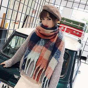 В 2018 году зимой шарф женщин мягкий кашемировый шарф шерсть женщин шерсть пончо Echarpes Winter Hat Перчатки Set
