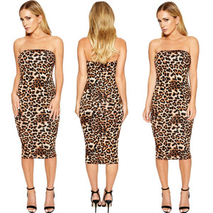 2019 New Sexy Leopard Print Midi vestido Mulheres Roupa Plus Size vestido elegante Strapless BODYCON Vestidos Night Club