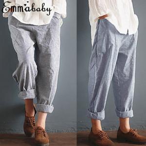 Kadınlar Yaz Pamuk Keten Elastik Harem Çizgili Bel Gevşek Günlük Pantolon Cepler Pantolon
