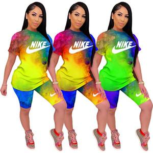 Plus size Summer women brand tie dye shorts two piece set outfits letter sweatsuits short sleeve Tshirt shorts designer jogging suit 3029