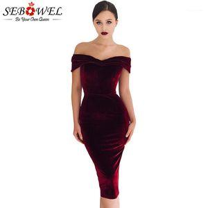 SEBOWEL Bourgogne Sexy Encolure velours robe de soirée noire élégante femmes ruché Robe moulante sans bretelles Midi Soirée Gown1