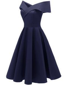 Kadınlar Seksi Salıncak Abiye Kapalı Omuz Pamuk Polyester Spandex Katı Renk Kadınlar Kutlama Giymek Bayanlar Güzel Parti Elbiseler