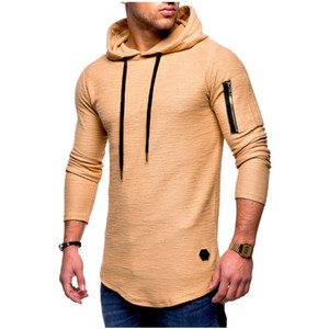 Hooded Men Jacket Causal Coats fashion jacquard round neck hooded long-sleeved arm zipper stitching wind long sweater