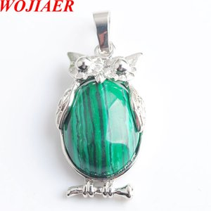 WOJIAER Eagle Animal Necklaces & Pendants Girl Chakra Reiki NaturalMalachite Oval Convex Gem Stone Beads Jewelry DN8070