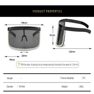 Crystal oversized shield visor sunglass STORY Vintage Retro Shield Visor Mask Sunglasses 2018 Oversized Windproof Glasses One Peice Big azx0