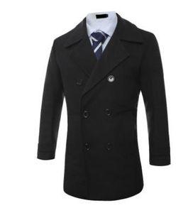 Men Double Breasted Wool Blends Coats Gentlemen Autumn Winter Slim Fit Coats