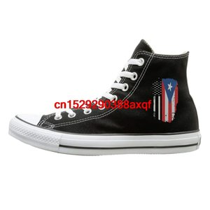 Canvas Shoes American Puerto Rico Flag Casual High Top Lace Ups Sport Sneakers For Men's Women's