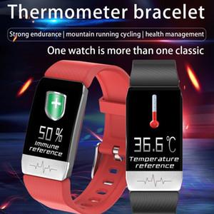 Bluetooth Elektronik Akıllı İzle T1 Termometre Sıcaklık Bileklik Ölçüm Run Rota Parça Spor Tracker Smartwatch