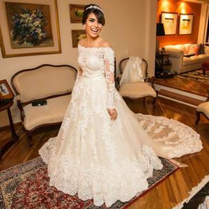 Rilievo Pizzo Abiti da sposa di alta qualità fuori dalla spalla del collo di una lunga serie maniche Abiti da sposa sweep treno di Tulle robe de mariée