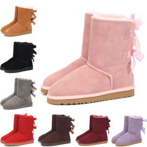 UGG enfants Bailey 2 Bows Bottes en cuir véritable tout-petits Bottes de neige solide Botas De Nieve Filles d'hiver Chaussures enfant en bas âge Filles Bottes