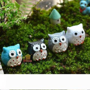Resin Garden Decorations Fairy Garden Miniatures Cute Mini Owl Landscape Ornaments Garden Bonsai Dollhouse Decorations Resin Craft