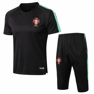 Portuguese club jersey short-sleeved cropped trousers training suit Split pants with zipper pockets on both sides