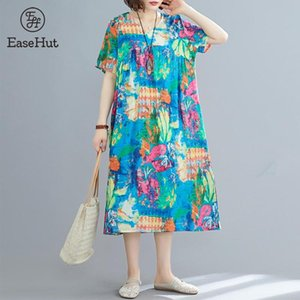 vestidos EaseHut Cotton étnico linho vestido estampado solto Casual Vestidos Verão V Neck manga curta Baggy Traje mujer 2020 Novo