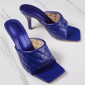 CINESSD NEUE reizvolle PU-Diamant-Quadrat-Kopf-Blick-Zehe-Absatz-Hausschuhe Summer Fashion Slip on dünne Fersen Slides Frauen Mules-Party-T