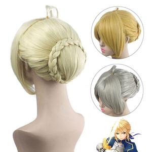 AILIADE Fate / stay night Arturia Pendragon Saber Perücke Blonde Styled Updo Cosplay volle Perücken + Wig Cap