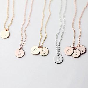 26 letras iniciais colar carta de colar de prata da cor do ouro Disc Colar do alfabeto Mulheres Kolye Collier Friends Family Jóias RRA2085