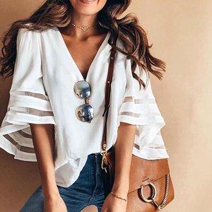 MOSHENGQI solide chemisier femme mode col en V chemise 2019 Casual manches évasées bureau Lady Work Wear Top et chemisiers 4 couleurs