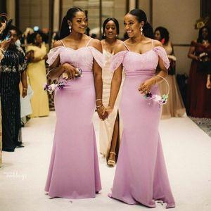Onur törenlerinde Of The Black Kızlar Kapalı Omuz Denizkızı Gelinlik Modelleri Uzun Dantel Aplike Spagetti Wedding Guest Elbise Afrika Örgün Hizmetçi