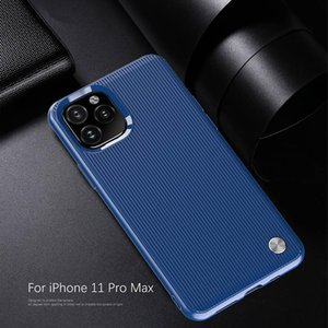 Phone Case Stripe Line Brushed Carbon Fiber Bump Shockproof For iPhone 11 Pro Max XS XR X 8 7 Plus Samsung S10