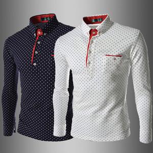 남성 폴카 도트 프린트 폴로 봄 가을 디자이너 라펠 넥 긴 소매 폴로 셔츠 남성 버튼 헨리 넥 캐주얼 슬림 맞춤 의류