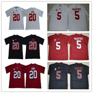 NCAA College Stanford Cardinals Jersey 20 Bryce Love 5 Christian McCaffrey 7 John Elway 12 Andrew Luck maglie Lontano Bianco Rosso Nero S-3XL
