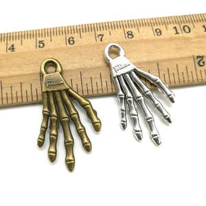 35x19mm fai da te portachiavi per la collana degli orecchini del braccialetto mano all'ingrosso scheletro osseo antiquariato della lega d'argento di fascini retrò gioielli