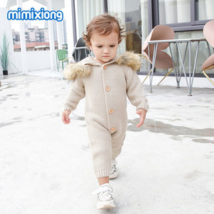 INS Baby romper toddler kids faux fur hooded long sleeve jumpsuit infant girls knitted sweater romper fall new baby boy clothes F9244