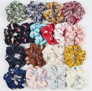 50pcs Floral Flamingo Solid Houndstooth Design Women Hair Tie Accesorios Scrunchie Ponytail Hair Holder Rope scrunchy basic Hair band BY1032