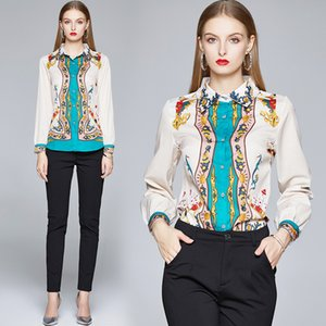 Runway Blouse Women Long Sleeve Vintage Shirt Spring summer Blusas Femininas Womens Tops and Blouses Blusas Mujer De Moda m577014