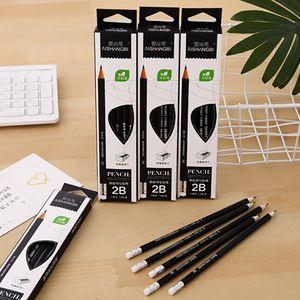 도매 깎이 지우개 시험 12PCS / 설정 그리기 연필 2B 연필 문구 육각형 블랙 고전 연필 학생 학교에 설정된 디자인