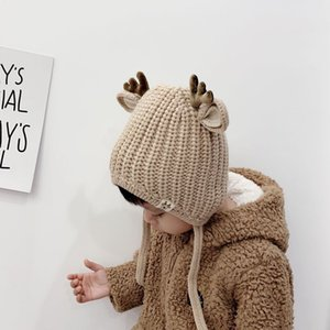 2019 baby hat scarf boys and girls deer velvet hat cotton autumn and winter baby hat photo shooting props Christmas gifts