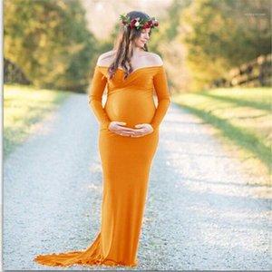 Manica lunga maxi vestiti incinta Fotografia Woman Dress Plus Size Dress maternità cotone mercerizzato con scollo a V con spalle scoperte