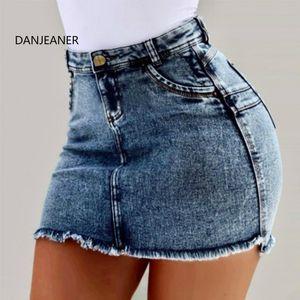 DANJEANER S-3XL Denim Gonne Donna vita alta Solid Pencil Gonne Plus Size Push Up Bandage Jean Streetwear Mini