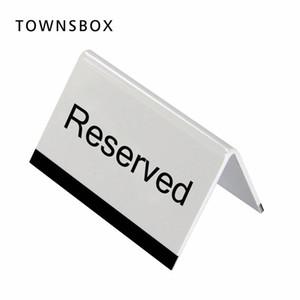 10x6cm Blanc Acrylique Noir UV Impression Lettre Signe de Bureau Stand Hôtel Resturant Table Réservation Panneau De Signalisation De Bureau Plaque