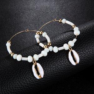 Nouveau Style Boucles D'Oreilles Exagéré Grand Cercle Boucles D'Oreilles Blanc Perles Shell Pendentif Alliage Femelle Déclaration Accessoires