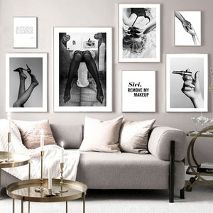 Sexy Woman Fashion Poster Black White Canvas Print Wall Art Painting Minimalist Artwork Picture Modern Home Girl Room Decoration