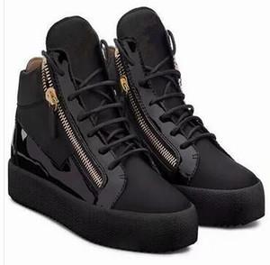 Высококачественная мужская обувь ZIP Весна осень Хип-хоп тренд Высокая помощь с круглой головкой на молнии Квартира с модой мужская обувь бесплатная доставка