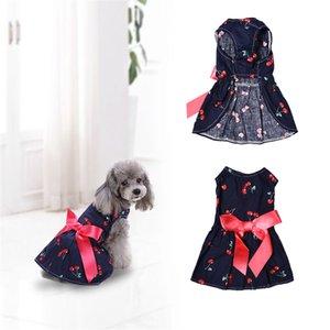 직접 판매 고품질 체리 패턴 원피스 강아지 드레스 애완 동물 공주 여름, 봄 조끼 의류 1PCS 배송