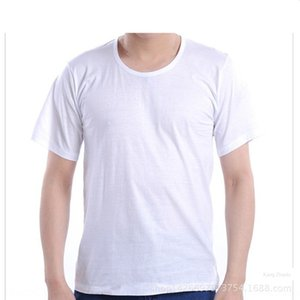 T-shirt T-shirt de algodão homens soltos de mangas curtas meia idade planície Jersey camisetas colete meia mangas nan xia zhuang