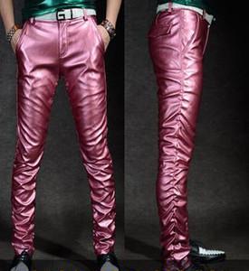2020 Мужчина тощего Кожезаменителя досуг брюки черного золото пу Блестящих брюки хип-хоп моды для мужчин кожаных брюк