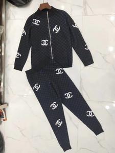 94European Marchandises 2019 Robe Automne Nouveau B Accueil classique Lattice tricot à manches longues Veste Lapel petits pieds Pantalons Suit111066