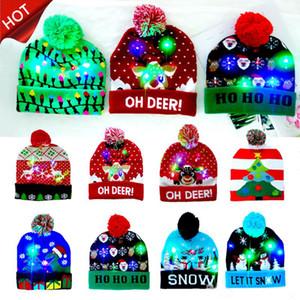 2020 Vender 10 diseños LED sombrero de Santa sombreros de la Navidad Beanie suéter de Navidad enciende para arriba sombrero hecho de Kid adulto para Navidad