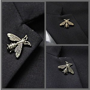 Retro bees brooches pins for men cheapest corsages brooch animal suit collar pin buckle domineering bee brooch pin neckwear