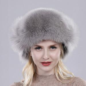 In vendita 100% vera pelliccia di volpe da donna russo Ushanka Aviator Trapper Cappello da sci da neve Cappellini Earflap Inverno Raccoon Fur Bomber Hat