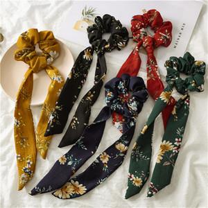 INS 5 couleurs Vintage cheveux Chouchous Bow femmes Accessoires Bandeaux Liens Scrunchie Porte-caoutchouc Corde Ponytail décoration Big arc long