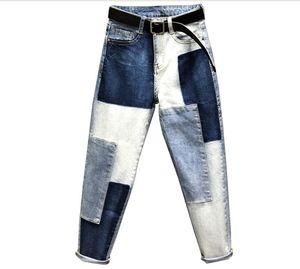 Leggermente Jeans elastici Mujer Patchwork pantaloni jeans delle donne Large Size Denim Patch Harlan Cuff matita Femme Donna